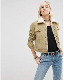 Cord Cropped Jacket In Stone With Borg Lining And Collar