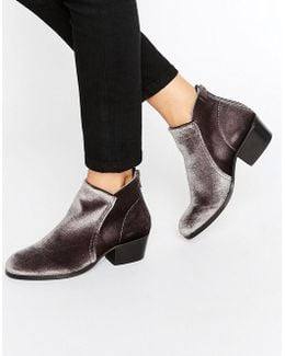 Apisi Grey Velvet Heeled Ankle Boots