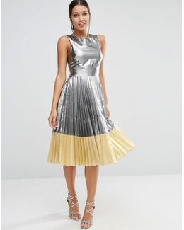 Sheer And Solid Metallic Pleated Midi Dress