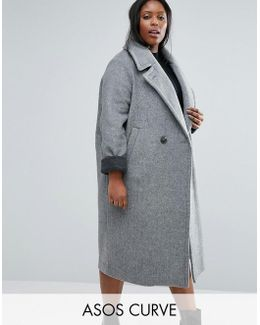 Coat In Cocoon Fit With Contrast Cuff