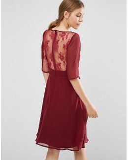 Midi Dress With Lace Sleeve And Back
