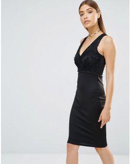 V Neck Lace Bodycon Midi Dress