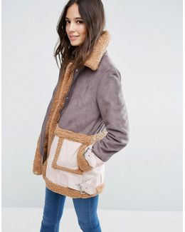 Faux Shearling Coat In Patchwork