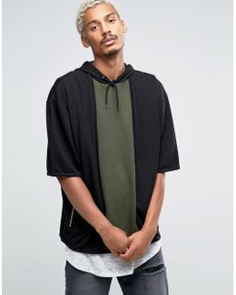 Oversized Short Sleeve Hoodie With Cut & Sew Panel