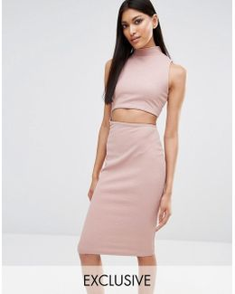 Exclusive Cut Out High Neck Bodycon Midi Dress