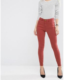 Ridley High Waist Skinny Jeans In Rust