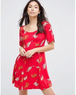 Short Sleeve Flippy Mini Dress In Leopard Conversational Print