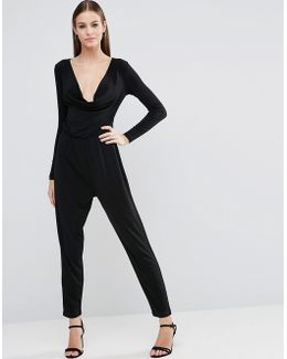 Jersey Jumpsuit With Cowl Neck And Long Sleeves