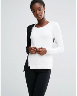 Two Tone Knit Jumper