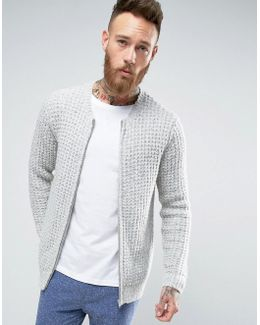 Heavyweight Knitted Bomber In Textured Yarn