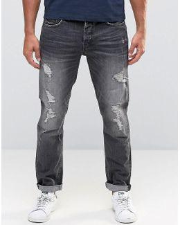 Jeans In Regular Fit With Rip Repair Detail
