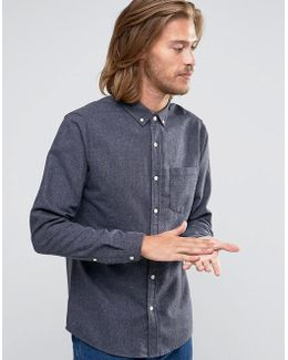 Regular Fit Neppy Wool Mix Shirt In Grey