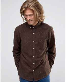 Regular Fit Neppy Wool Mix Shirt In Brown