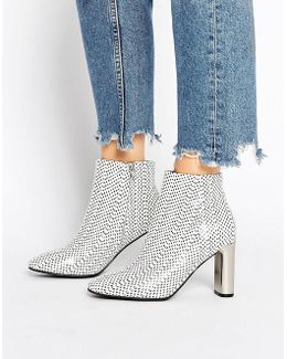 Alicia Polka Dot Snake Print Leather Heeled Ankle Boots