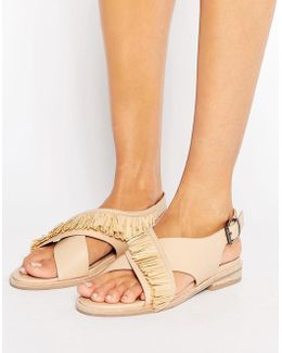 Marla Cross Strap Leather Flat Sandals