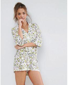 Tulip Floral Shirt & Short Pyjama Set