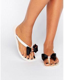 Rafeek Bow Cream Flip Flops