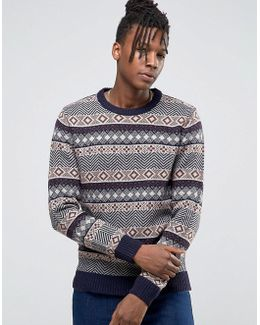 Crew Neck Knit In Fairisle Detail