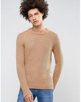 Crew Neck Knit In Chunky Rub With Raglan Sleeve