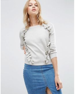 Jumper With Raglan And Ruffle Detail