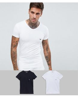 2 Pack Stretch Cotton V-neck T-shirt In Extreme Muscle Fit