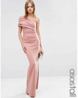 One Shoulder Bardot Scuba Maxi Dress With Exposed Zip