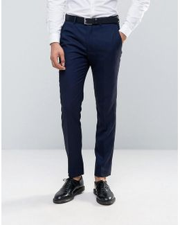 Textured Navy Tuxedo Slim Fit Suit Trousers