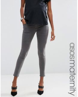 Ridley Skinny Jeans In Slated Grey With Under The Bump Waistband