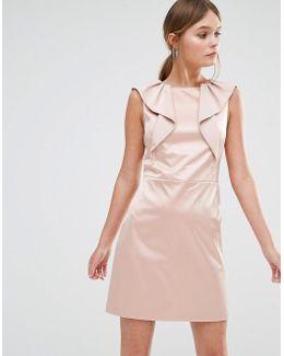 Satin Ruffle Shift Dress