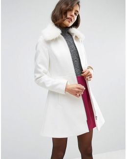Skater Coat With Faux Fur Collar