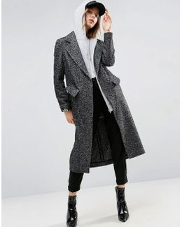 Coat In Boyfriend Fit And Mono Textured Fabric