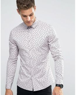 Skinny Shirt With Ditsy Print