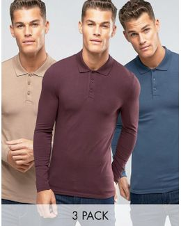 3 Pack Extreme Muscle Long Sleeve Polo Save 17%