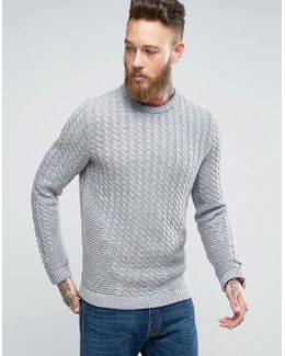 Cable Knit Jumper With Chunky Rib Detail
