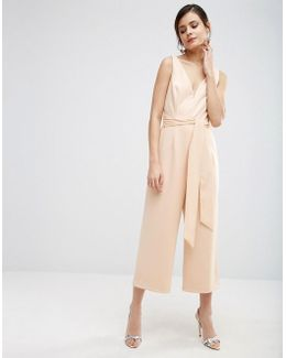 Premium Structured Plunge Jumpsuit With Tie Belt