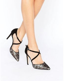 Cordelia Lace Cross Strap Heeled Shoes