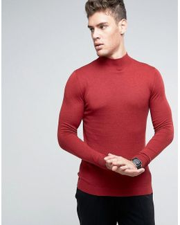 Turtle Neck Jumper In Muscle Fit
