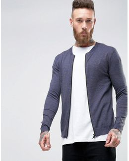 Knitted Cotton Bomber In Muscle Fit