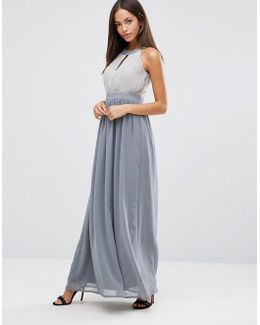Chiffon Maxi Dress With Keyhole And Pleat Detail
