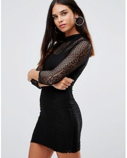 3/4 Sleeve High Neck Lace Bodycon Dress