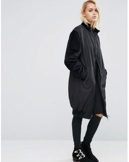 Longline Coat With Contrast Velvet Sleeves
