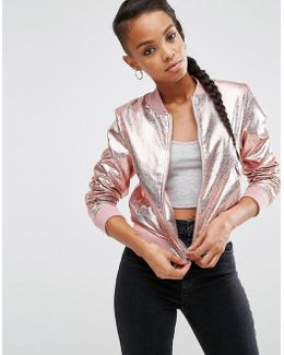 Cracked Leather-Look Bomber Jacket