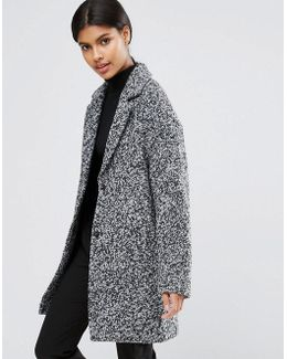 Coat In Cocoon Fit And Textured Fabric