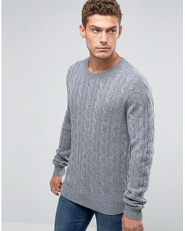 Jumper With Cable Knit In Grey