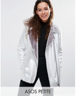 Longline Metallic Leather Look Biker Jacket With Faux Fur Lining