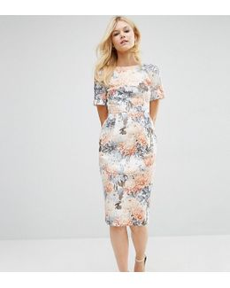 Smart Woven Dress With V Back In Wallpaper Floral Print