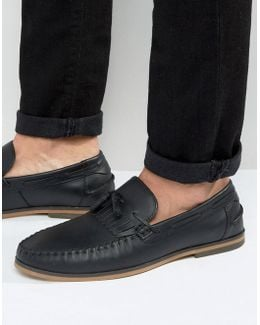 Tassel Loafers In Black Leather With Fringe