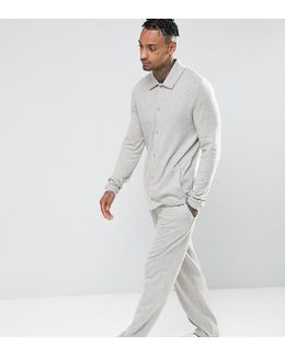 Straight Pyjama Bottoms In Brushed Woven Texture
