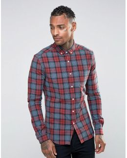 Skinny Check Shirt In Burgundy