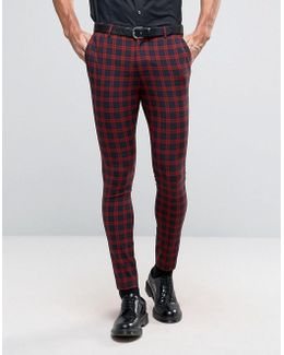 Super Skinny Suit Trousers In Navy And Red Check